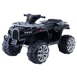 Electric Ride-On Quad ALLROAD 12V, negro, enormes ruedas EVA suaves, 2 x 12V, motor, luces LED, reproductor de MP3 con USB, batería 12V7Ah