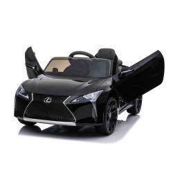 Paseo eléctrico en automóvil Lexus LC500, negro, con licencia original, batería de 12V, puertas de apertura vertical, motor 2x, control remoto de 2.4 Ghz, suspensión, arranque suave