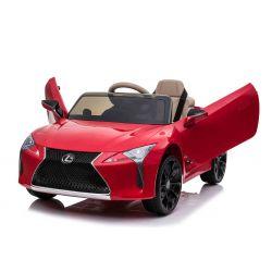 Paseo eléctrico en automóvil Lexus LC500, rojo, con licencia original, batería de 12V, puertas de apertura vertical, motor 2x, control remoto de 2.4 Ghz, suspensión, arranque suave