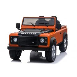 Coche de juguete eléctrico Land Rover Defender, con licencia, radio con entrada USB / TF, control remoto de 2,4 Ghz, batería 2 x 12V / 7AH, 4 X MOTOR, asiento doble de cuero, ruedas EVA, naranja