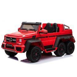 Coche de juguete eléctrico para montar Mercedes-Benz G63 6X6, reproductor de MP3, luces de rueda y luces inferiores, 2.4Ghz, 12V14AH, caja de batería extraíble, 4 X MOTOR, control remoto, asiento doble de cuero, ruedas de goma, radio FM, servomotor, rojo