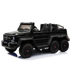 Coche de juguete eléctrico para montar Mercedes-Benz G63 6X6, reproductor de MP3, luces de rueda y luces inferiores, 2.4Ghz, 12V14AH, caja de batería extraíble, 4 X MOTOR, control remoto, asiento doble de cuero, ruedas de goma, radio FM, servomotor, negro