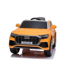 Paseo eléctrico en el automóvil Audi Q8, naranja, con licencia original, asiento de cuero, puertas que se abren, motor de 2 x 25 W, batería de 12 V, control remoto de 2.4 Ghz, ruedas Soft EVA, luces LED, arranque suave, licencia ORIGINAL