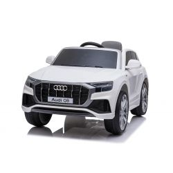 Paseo eléctrico en automóvil Audi Q8, blanco, con licencia original, asiento de cuero, puertas que se abren, motor de 2 x 25 W, batería de 12 V, control remoto de 2.4 Ghz, ruedas suaves de EVA, luces LED, arranque suave, licencia ORIGINAL