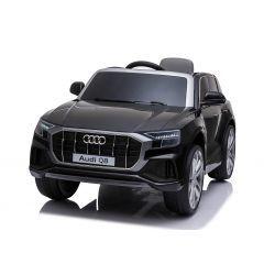 Electric Ride on Car Audi Q8, negro, con licencia original, asiento de cuero, puertas que se abren, motor de 2 x 25 W, batería de 12 V, control remoto de 2.4 Ghz, ruedas Soft EVA, luces LED, arranque suave, licencia ORIGINAL