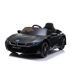 Paseo eléctrico en automóvil BMW i8, negro, con licencia original, asiento de cuero, puertas que se abren, motor de 2 x 25 W, batería de 12 V, control remoto de 2.4 Ghz, ruedas Soft EVA, suspensión, arranque suave