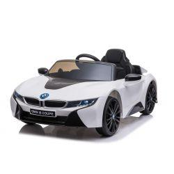 Paseo eléctrico en automóvil BMW i8, blanco, con licencia original, asiento de cuero, puertas que se abren, motor de 2 x 25 W, batería de 12 V, control remoto de 2.4 Ghz, ruedas Soft EVA, suspensión, arranque suave
