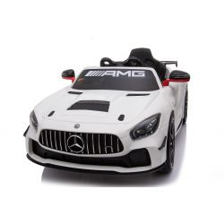 Vehículo eléctrico Mercedes-Benz GT4, blanco, con licencia original, batería, puertas que se abren, motor 2x, batería de 12 V, control remoto de 2.4 Ghz, ruedas de EVA suave, servomotor, arranque suave