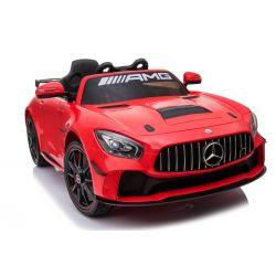 Vehículo eléctrico Mercedes-Benz GT4, rojo, con licencia original, batería, puertas que se abren, motor 2x, batería de 12 V, control remoto de 2.4 Ghz, ruedas de EVA suave, servomotor, arranque suave