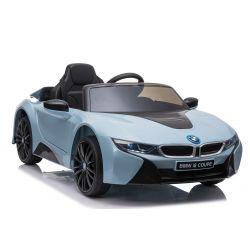 Paseo eléctrico en automóvil BMW i8, azul, con licencia original, asiento de cuero, puertas que se abren, motor de 2 x 25 W, batería de 12 V, control remoto de 2.4 Ghz, ruedas Soft EVA, suspensión, arranque suave
