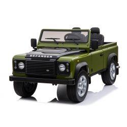 Coche de juguete eléctrico, Land Rover Defender, con licencia, radio con entrada USB / TF, control remoto de 2,4 Ghz, batería 2 x 12V / 7AH, 4 X MOTOR, doble asiento de cuero, ruedas EVA, verde