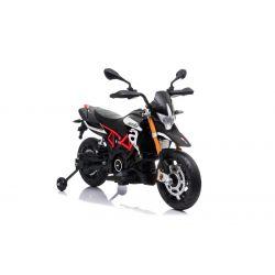 Moto eléctrica APRILIA DORSODURO 900, con licencia, batería de 12V, ruedas suaves de EVA, motores de 2 x 18W, suspensión, marco de metal, horquilla de metal, ruedas auxiliares, negro