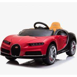 Paseo eléctrico en coche Bugatti Chiron, rojo, con licencia original, alimentado por batería, apertura de puertas, asiento de cuero, motor 2x, batería de 12 V, control remoto de 2.4 Ghz, ruedas suaves de EVA, arranque suave