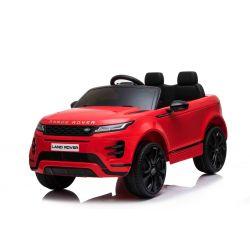 Eléctrico Ride-On Range Rover EVOQUE, rojo, doble asiento de cuero, reproductor de MP3 con entrada USB, unidad 4x4, batería 12V10Ah, ruedas EVA, ejes de suspensión, arranque con llave, control remoto Bluetooth 2.4 GHz, con licencia