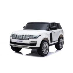 Range Rover Eléctrico, Blanco, Doble Asiento De Cuero, Pantalla LCD Con Entrada USB, Unidad 4x4, Batería 2x 12V 7Ah, Ruedas EVA, Ejes De Suspensión, Arranque Con llave, Control Remoto Bluetooth 2.4 GHz