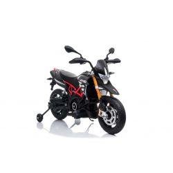 Moto eléctrica APRILIA DORSODURO 900, con licencia, batería de 12V, ruedas suaves de EVA, motores de 2 x 18W, suspensión, marco de metal, horquilla de metal, ruedas auxiliares, gris