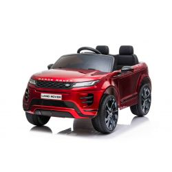 Eléctrico Ride-On Range Rover EVOQUE, pintado de rojo, doble asiento de cuero, reproductor de MP3 con entrada USB, unidad 4x4, batería 12V10Ah, ruedas EVA, ejes de suspensión, arranque con llave, control remoto Bluetooth 2.4 GHz, con licencia