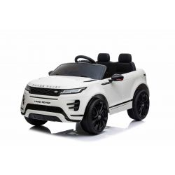 Eléctrico Ride-On Range Rover EVOQUE, blanco, doble asiento de cuero, reproductor de MP3 con entrada USB, unidad 4x4, batería 12V10Ah, ruedas EVA, ejes de suspensión, arranque con llave, control remoto Bluetooth 2.4 GHz, con licencia