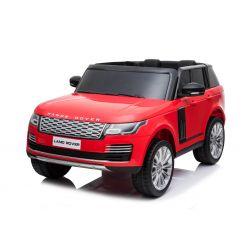 Range Rover eléctrico, rojo, doble asiento de cuero, pantalla LCD con entrada USB, unidad 4x4, batería 2x 12V7Ah, ruedas EVA, ejes de suspensión, arranque con llave, control remoto Bluetooth de 2.4 GHz