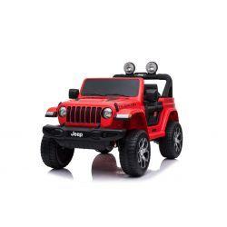 JEEP Wrangler Ride-On eléctrico, rojo, doble asiento de cuero, radio con Bluetooth y entrada USB, unidad 4x4, batería 12V10Ah, ruedas EVA, ejes de suspensión, control remoto de 2.4 GHz, con licencia
