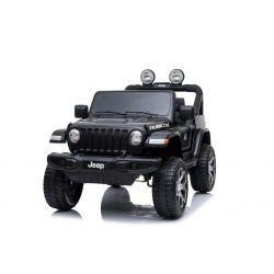 JEEP Wrangler Ride-On eléctrico, negro, doble asiento de cuero, radio con Bluetooth y entrada USB, unidad 4x4, batería 12V10Ah, ruedas EVA, ejes de suspensión, control remoto de 2.4 GHz, con licencia