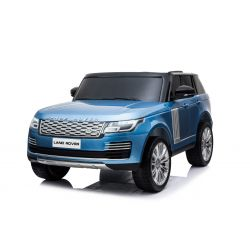Range Rover Ride-On eléctrico, pintado de azul, asiento doble de cuero, pantalla LCD con entrada USB, unidad 4x4, batería 2x 12V7Ah, ruedas EVA, ejes de suspensión, arranque con llave, control remoto Bluetooth 2.4 GHz