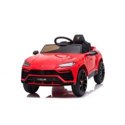 Paseo eléctrico en automóvil Lamborghini URUS, rojo, con licencia original, alimentado por batería, puertas de apertura vertical, 2x motor, batería de 12 V, control remoto de 2.4 Ghz, ruedas suaves de EVA, suspensión, arranque suave