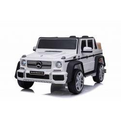 Paseo eléctrico en automóvil Mercedes G650 MAYBACH, blanco, licencia original, batería de 12V, puertas de apertura, motor 2 x 25W, control remoto de 2.4 Ghz, ruedas Soft EVA, suspensión, arranque suave, reproductor de MP3 con entrada USB / SD