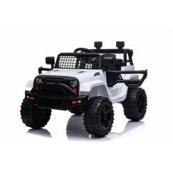 Vehículo eléctrico sin conductor con tracción trasera, blanco, batería de 12V, chasis alto, asiento ancho, ejes suspendidos, control remoto de 2.4 GHz, reproductor de MP3 con entrada USB / SD, luces LED