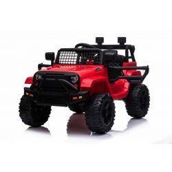 Vehículo eléctrico OFFROAD con tracción trasera, rojo, batería de 12V, chasis alto, asiento ancho, ejes suspendidos, control remoto de 2.4 GHz, reproductor de MP3 con entrada USB / SD, luces LED