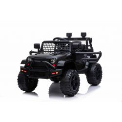 Vehículo eléctrico para montar en OFFROAD con tracción trasera, negro, batería de 12V, chasis alto, asiento ancho, ejes suspendidos, control remoto de 2.4 GHz, reproductor de MP3 con entrada USB / SD, luces LED