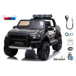 Electric ride-on Police car Ford F150 Raptor, EVA wheels, High quality suspension, Double leather seat, 2.4 GHz RC, Key start, 2 X MOTOR, USB, SD card, ORGINAL license