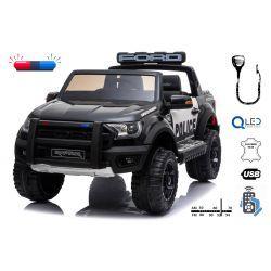 Coche eléctrico con conductor Ford Raptor, negro, suspensión de alta calidad, luces LED, asiento doble, 2.4 GHz RC, arranque con llave, 4 X MOTOR, USB, tarjeta SD, licencia ORIGINAL