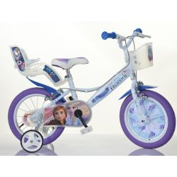 "DINO Bikes - Kids bike 14 ""144RF3 with seat and basket doll Frozen 2"