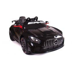 Vehículo eléctrico Mercedes-Benz GT4, negro, con licencia original, batería, puertas que se abren, motor 2x, batería de 12 V, control remoto de 2.4 Ghz, ruedas de EVA suave, servomotor, arranque suave