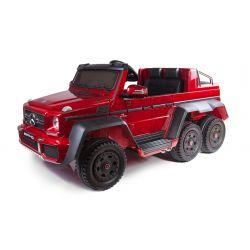 Coche eléctrico Mercedes-Benz G63 6X6, pantalla LCD, Luces de rueda y luces de fondo, 2.4 Ghz, 12V14AH, Batería extraíble, 4 X MOTOR, Control remoto, Asiento d cuero doble, Ruedas de goma, radio FM, servomotor, dos pedales, pintado de Rojo